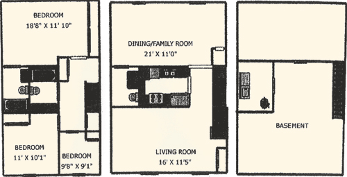 2 Bedroom Townhome with Suite Floorplan Willow Creek Crossing Apartments